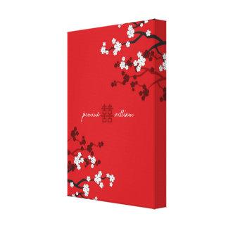 Kirschblüten-doppeltes Glück-chinesische Hochzeit Galerie Falt Leinwand