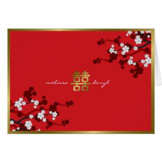 Kirschblüten-doppeltes Glück-chinesische Hochzeit Karte