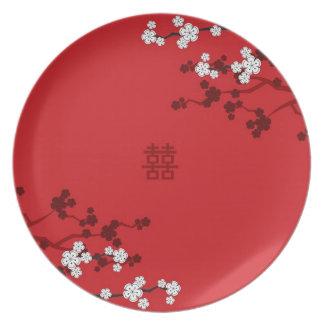 Kirschblüten-doppeltes Glück-chinesische Hochzeit Melaminteller