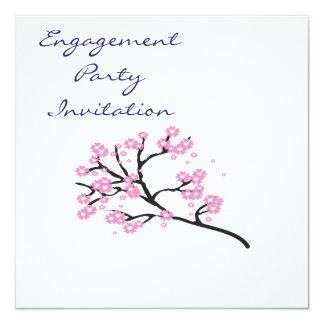 Kirschblüten-einfaches elegantes Verlobungs-Party Quadratische 13,3 Cm Einladungskarte