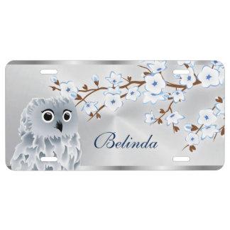 Kirschblüten-Eulen-Blau-Silber US Nummernschild