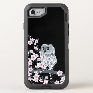 Kirschblüten-Eulen-süßes Tier Girly OtterBox Defender iPhone 8/7 Hülle