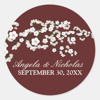 Kirschblüten-Hochzeits-Einladungs-Siegel (Wein) Runder Aufkleber