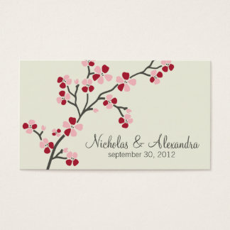 Kirschblüten-Hochzeits-Visitenkarte (rot) Visitenkarte