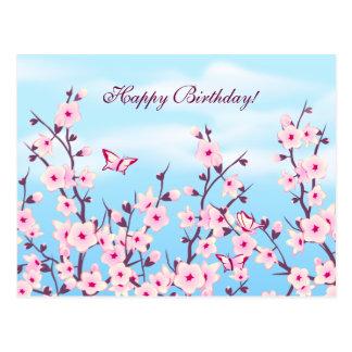 Kirschblüten-Landschaft Postkarte