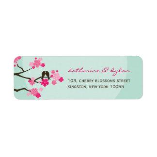 Kirschblüten-Liebe-Vögel, die Adressen-Etiketten