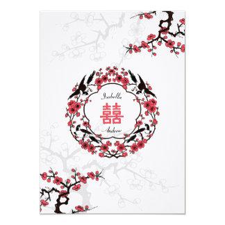 Kirschblüten-orientalische Hochzeit 12,7 X 17,8 Cm Einladungskarte