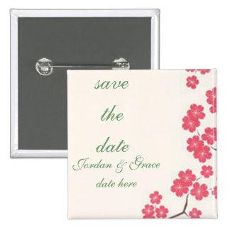 Kirschblüten-Rosa Quadratischer Button 5,1 Cm