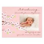 Kirschblüten-Rosa u. Brown-Baby-Mädchen-Foto-Gebur Personalisierte Einladungskarten