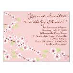 Kirschblüten-Rosa u. Brown-Babyparty Einladungskarten