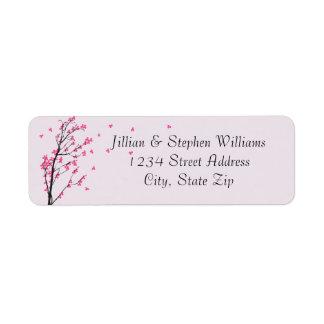 Kirschblüten-Stamm - Adressen-Etiketten Rücksendeetikett