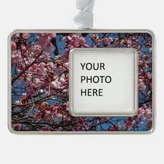 Kirschblüten und blauer Himmel-Frühling mit Blumen Rahmen-Ornament Silber