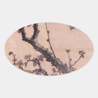 Kirschblüten und -trällerer durch Katsushika Ovaler Aufkleber