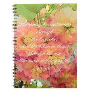 Kirschblütengedicht Notizblock