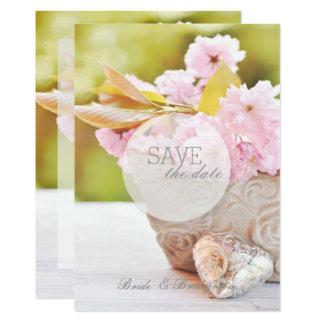 Kirschc$blüte-rosa Blumen, die Save the Date Karte