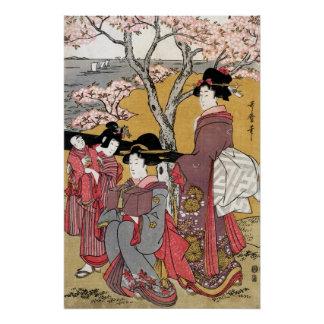 Kirsche-Blüte Betrachtung bei Goten-yama Kitagawa Poster