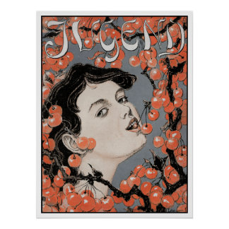 Kirschen essen - Kunst Nouveau - Jugend Poster