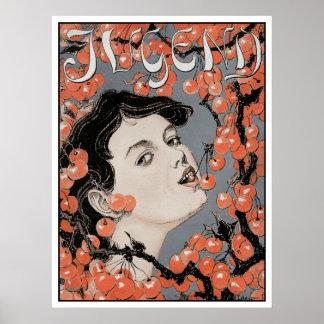 Kirschen essen - Kunst Nouveau - Jugend Zeitschrif Posterdruck