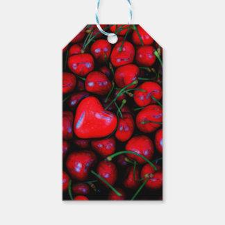 Kirschen mit Herz-Liebe Geschenkanhänger