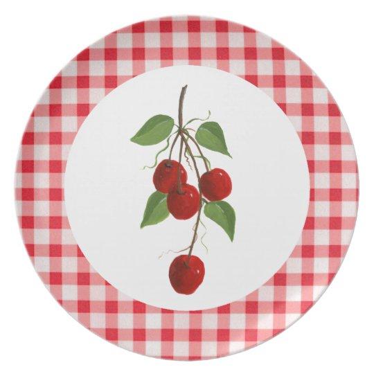 Kirschen und Gingham-Platte Teller