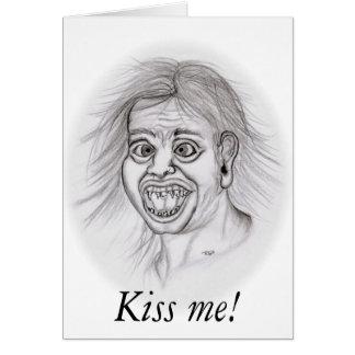 Kiss me! - Bleistiftzeichnung Grußkarte