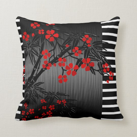 kissen asiatische schwarze rote bambusbl te kissen zazzle. Black Bedroom Furniture Sets. Home Design Ideas