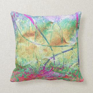 Kissenrosa violetter tropischer Blumendschungel Kissen