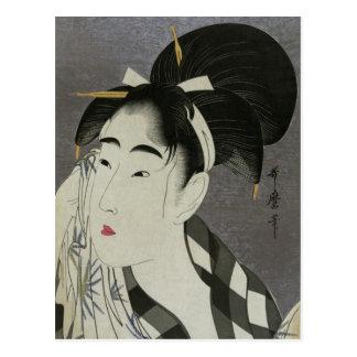 Kitagawa Utamaros Ase O Fuku Onna Postkarte