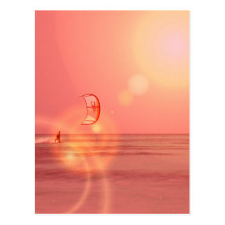 Kiteboarding Sonnenuntergang-Postkarte Postkarte