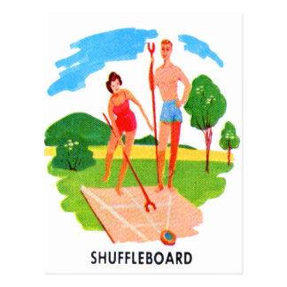 Kitsch-60er Vintage Erholungsortshuffleboard-Paare Postkarte
