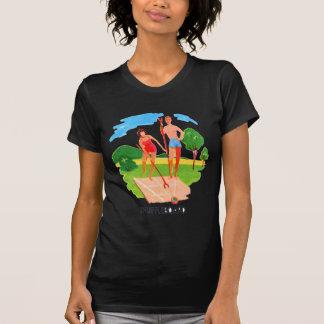 Kitsch-60er Vintage Erholungsortshuffleboard-Paare T-Shirt