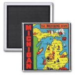 Kitsch-Retro Vintager Michigan-AbziehbildWolverine Quadratischer Magnet