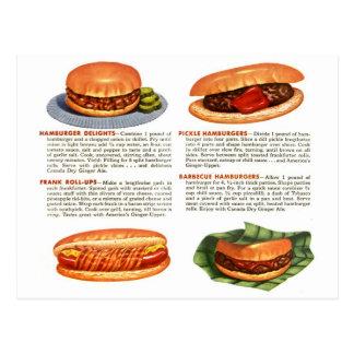 Kitsch-Vintage Hamburger u. Hotdogs! Postkarten