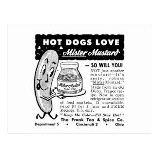 Kitsch-Vintage Hotdog-Liebe-Anzeigen-Kunst Postkarten