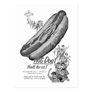 Kitsch-Vintage Hotdog-Liebhaber-Anzeigen-Kunst Postkarte