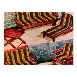 Kitsch-Vintage Retro Vorort-Patio-Möbel Postkarte