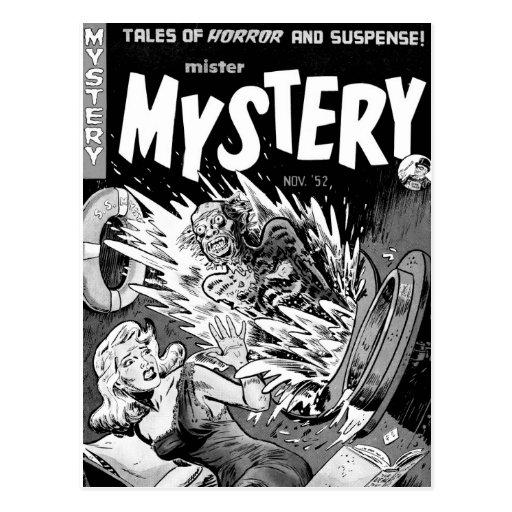 Kitsch-Vintager Comic-Buch-Herr Mystery Postkarten