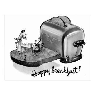 Kitsch-Vintager Frühstücks-Toaster 'glückliches Postkarten