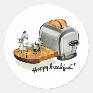 Kitsch-Vintager Frühstückstoast 'glückliches Break Runder Sticker