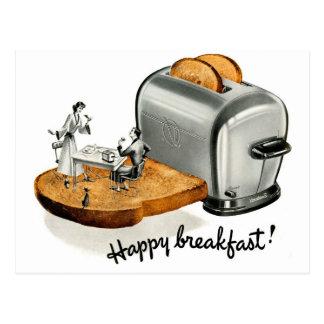 Kitsch-Vintager Frühstückstoast 'glückliches Postkarten
