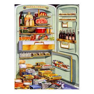 Kitsch-Vintager klassischer Kühlschrank 'volles Fr Postkarten