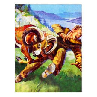 Kitsch-Vintages Abenteuer-'RAM gegen Man Postkarte