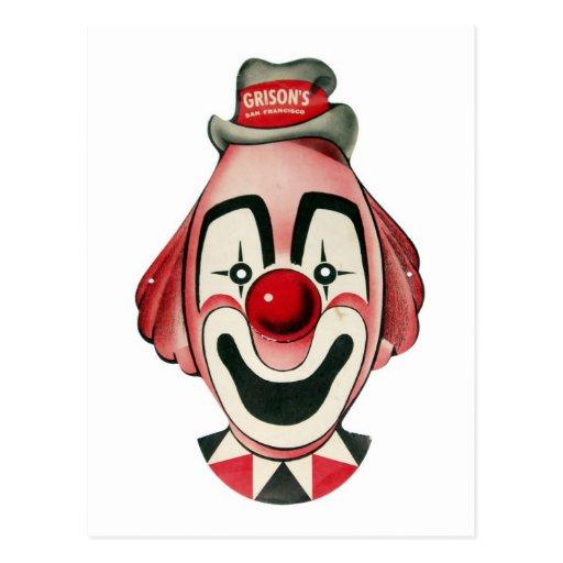 Kitsch-Vintages Clown-Gesicht, Maske Postkarte
