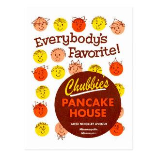 Kitsch-Vintages Pfannkuchen-Haus 'Chubbie's Postkarte