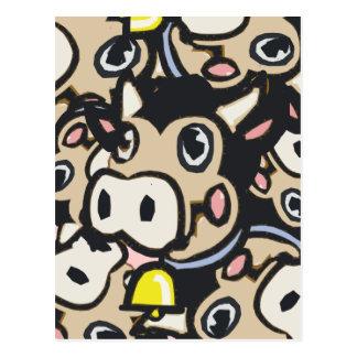 Kitschy Pop-Kunst-Molkereimoo-Kuh in der Retro Art Postkarten