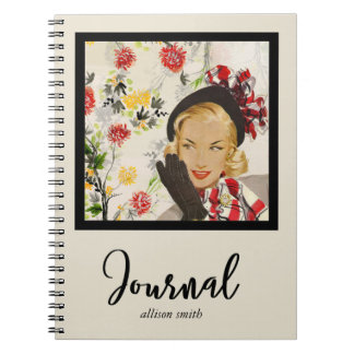 Kitschy, Retro Art-schicke Dame Journal/ Spiral Notizbuch