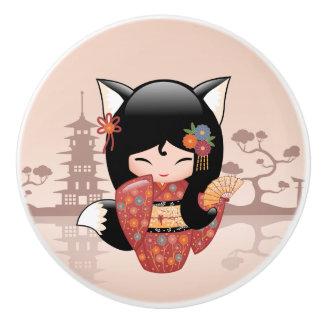 Kitsune Kokeshi Puppe - niedliches schwarzer Keramikknauf