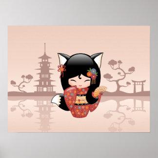 Kitsune Kokeshi Puppe - niedliches schwarzer Poster