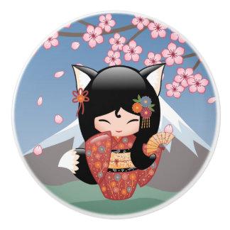 Kitsune Kokeshi Puppe - schwarzer Keramikknauf