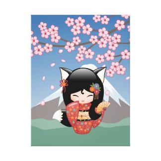 Kitsune Kokeshi Puppe - schwarzer Leinwanddruck